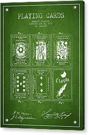 Billings Playing Cards Patent Drawing From 1873 - Green Acrylic Print