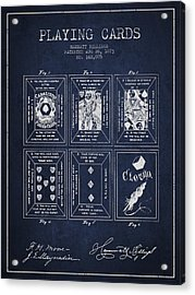 Billings Playing Cards Patent Drawing From 1873 - Navy Blue Acrylic Print