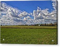 Billow Skies On Green Acrylic Print by Bill Tiepelman