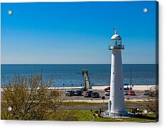 Biloxi Lighthouse And The Gulf Of Mexico Acrylic Print by Brian Wright