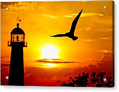 Biloxi Lighthouse Sunset Acrylic Print
