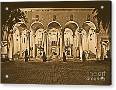 Biltmore Hotel Arched Colonnade And Grand Ballroom Courtyard Coral Gables Miami Rustic Digital Art Acrylic Print by Shawn O'Brien