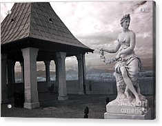 Biltmore Italian Garden Gazebo - Biltmore House Statues Architecture Garden Acrylic Print by Kathy Fornal