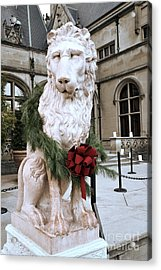 Biltmore Mansion Estate Lion - Biltmore Mansion Mascot - Biltmore Lion Christmas Wreath Acrylic Print by Kathy Fornal