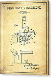 Binocular Microscope Patent Drawing From 1931-vintage Acrylic Print by Aged Pixel