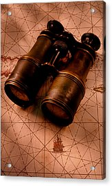Binoculars On Old Map Acrylic Print by Garry Gay
