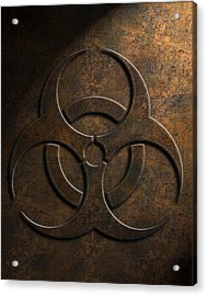 Acrylic Print featuring the digital art Biohazard Symbol Stone Texture by Brian Carson