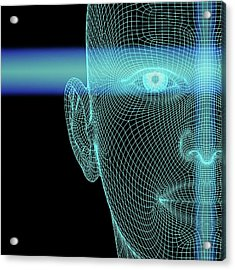 Biometric Polygon Head With Scanlines Acrylic Print by Alfred Pasieka