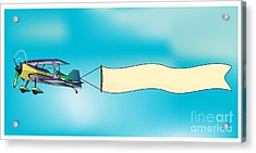 Biplane Aircraft Pulling Advertisement Acrylic Print