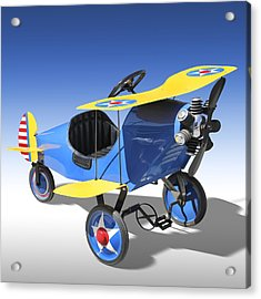 Biplane Peddle Car Acrylic Print by Mike McGlothlen