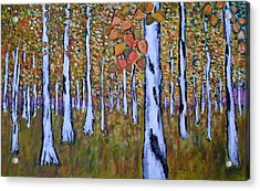 Acrylic Print featuring the painting Birch Autumn by Zeke Nord