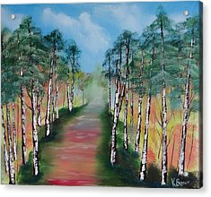 Birch Trees Along Winding Path Acrylic Print