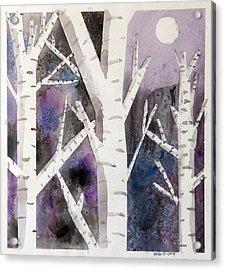 Birch Trees In Moonlight Acrylic Print by Ethan Altshuler