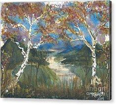 Birch Trees On The Ridge  Acrylic Print