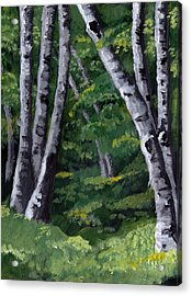 Acrylic Print featuring the painting Birches by Jesslyn Fraser