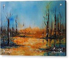Birches Pond Acrylic Print