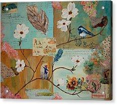 Bird And Feather Acrylic Print