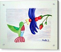Bird And Flower Acrylic Print
