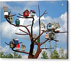 Acrylic Print featuring the photograph Bird House Village by Sue Melvin