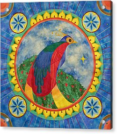 Bird Of Paradise Mandala Acrylic Print by Vlatka Kelc