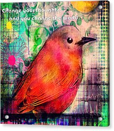 Bird On A Wire Acrylic Print by Robin Mead