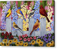 Bird Painting - Spring Garden Party Acrylic Print by Crista Forest