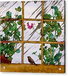 Bird With A View Acrylic Print by Carolyn Doe