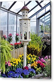 Birdhouse Garden Acrylic Print by Judy Via-Wolff