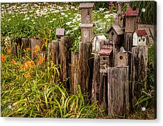 Birdhouses Beside A Country Road Acrylic Print
