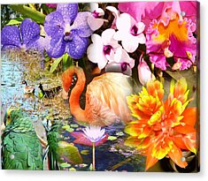 Birds And Flowers Acrylic Print by Van Ness