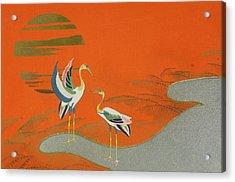Birds At Sunset On The Lake Acrylic Print by Kamisaka Sekka