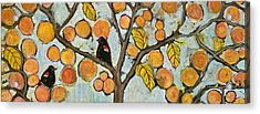 Birds In Paris Landscape Acrylic Print by Blenda Studio