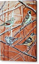 Birds In Tree Acrylic Print by Linda Vaughon