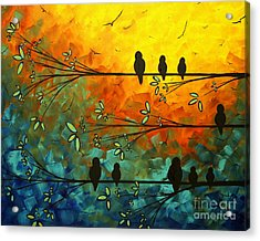 Birds Of A Feather Original Whimsical Painting Acrylic Print by Megan Duncanson