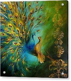 Birds Of A Feather Peacocks 3 Acrylic Print