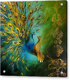 Birds Of A Feather Peacocks 3 Acrylic Print by Dina Dargo