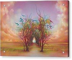 Acrylic Print featuring the painting Birds Of Rainbow Mist by Anna Ewa Miarczynska