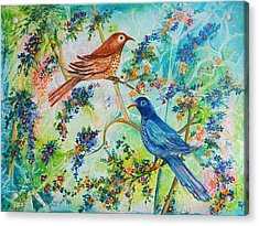 Acrylic Print featuring the painting Birds Of Spring by Yolanda Rodriguez