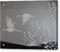 Acrylic Print featuring the painting Birds On A Silver Sky by Nereida Rodriguez