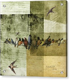 Acrylic Print featuring the digital art Birds On A Wire by Melissa Messick