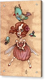 Birds On Head Woman Acrylic Print by Autogiro Illustration