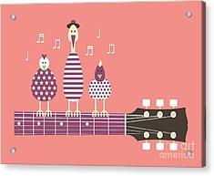 Birds Sing To The Guitar Neck, Vector Acrylic Print
