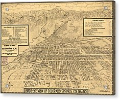 Birdseye Map Of Colorado Springs - 1909 Acrylic Print by Eric Glaser