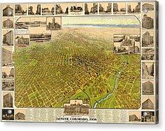 Birdseye Map Of Denver Colorado - 1908 Acrylic Print by Eric Glaser