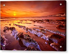 Birling Gap Sunset Acrylic Print by Mark Leader