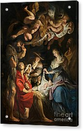 Birth Of Christ Adoration Of The Shepherds Acrylic Print by Peter Paul Rubens