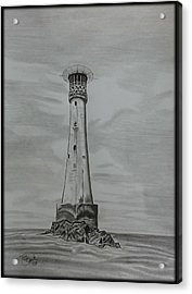 Bishops Rock Lighthouse Acrylic Print by Tony Clark