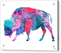 Bison 2 Acrylic Print by Watercolor Girl