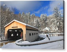 Bissell Covered Bridge In Winter Acrylic Print by John Burk