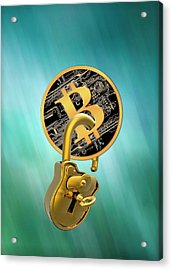 Bitcoin And Padlock Acrylic Print by Victor Habbick Visions